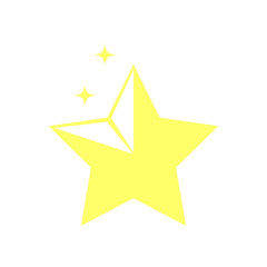 Bright shiny gold star, isolated vector icon