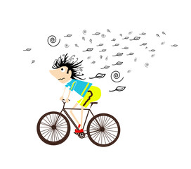 Ciclista nel vento
