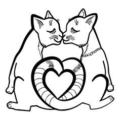 Vector illustration of cats in love black and white