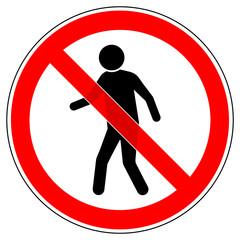 srr82 SignRoundRed - german - Verbotszeichen: Für Fußgänger / Zutritt verboten - english - pedestrian prohibited / no admittance sign - xxl g4922