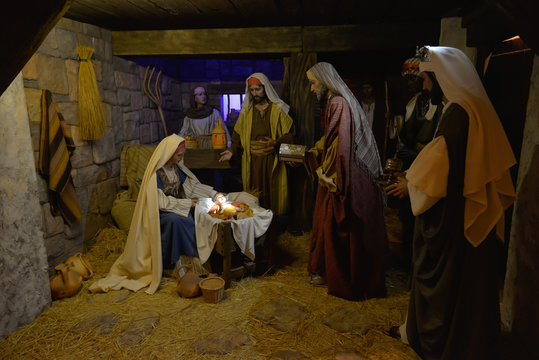 nativity scene with great figures