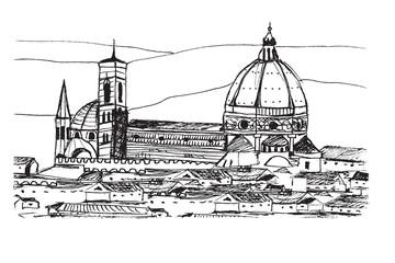 Fototapeta premium Panorama miasta Florencja. Rysunek ręcznie rysowany na białym tle.