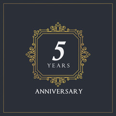 5 years anniversary monogram elegant logo decor design golden style vector stock