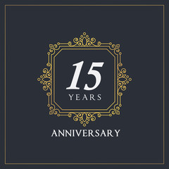 15 years anniversary monogram elegant logo decor design golden style vector stock