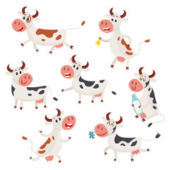 Funny black, brown and white spotted cow characters standing, sitting, running, cartoon vector illustration set isolated on white background. Cow characters, design element for farm, dairy products