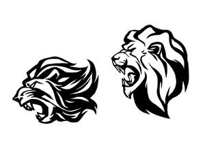 Lion head. Logotype of vector template. Creative illustration.