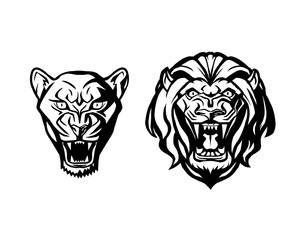 Head of lion and lioness. Logotype of vector template. Creative illustration.