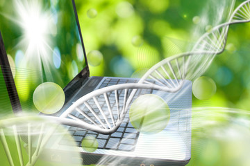Image of notebook on DNA chains background