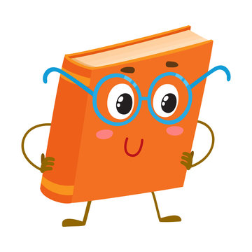 Funny orange book character in round blue nerdish glasses, cartoon vector illustration isolated on white background. Clever, smart book in round nerd style glasses, school, education concept