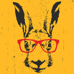 Portrait of Rabbit with glasses. Hand drawn illustration. Vector.