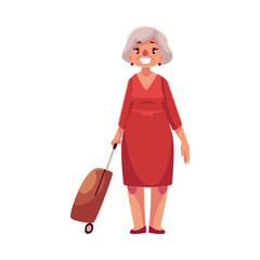Old, senior, elder woman in red dress with suitcase in airport, cartoon illustration isolated on white background. Full length portrait of old lady, senior woman traveler with luggage, suitcase