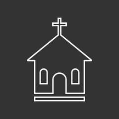 Line church sanctuary vector illustration icon. Simple flat pictogram for business, marketing, mobile app, internet on black background.