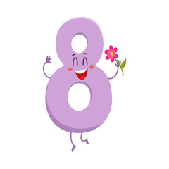 Cute and funny colorful 8 number characters, cartoon vector illustration isolated on white background. eight smiling characters, birthday greetings, anniversary