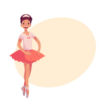 Pretty young ballerina in pink tutu standing on toes, cartoon style vector illustration on yellow background with place for text. Little ballet dancer in pink tutu, classical ballet, first position