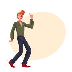 Red haired man in 1970s style clothes with beehive hair style dancing disco, cartoon vector illustration on background with place for text. Young man with beehive red hair dancing at retro disco party