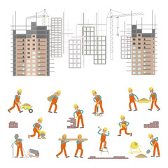 Illustration for construction site with cranes and skyscraper. Character workers, laborers in different pouses in flat design. Isolated on white background. Vector eps10