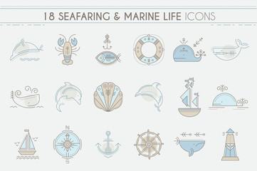 Nautical icon set, line style design elements.