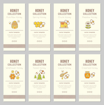 Vector card template with natural honey tags (sorts of honey)