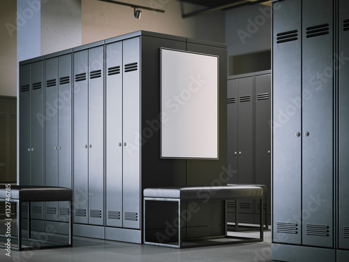 """Blank poster in a modern locker room. 3d rendering"" Imagens e fotos de stock Royalty ..."