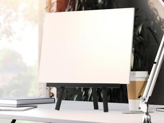 Black easel with blank frame. 3d rendering