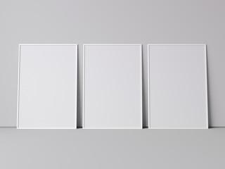Three white blank frames. 3d rendering