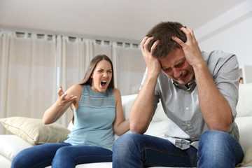 Couple arguing with wife shouting
