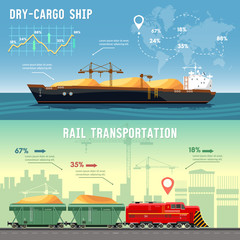 Delivery by railway lines. Transportation and transportation by freighters