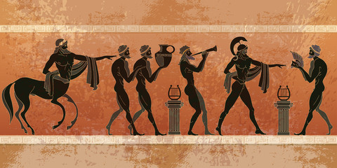 Ancient Greece scene. Black figure pottery.