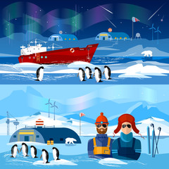 Travel to Antarctica banners. Scientific station on North Pole.