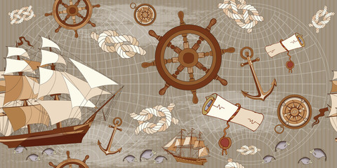 Old map seamless pattern, adventure stories concept