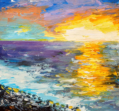 Oil painting of the sea, sunset on the coast, watercolor