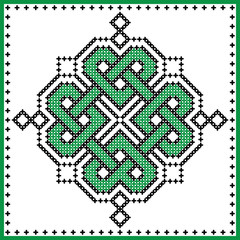 Celtic  knot in cross stitch in green black on white and green background inspired by Irish St Patrick's day and ancient Scottish culture