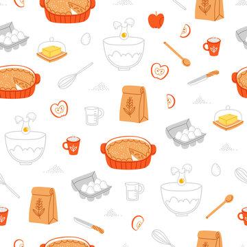Apple pie ingredients pattern
