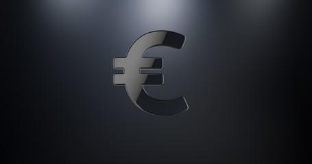 Euro sign Black 3d Icon