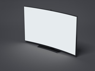 Curved tv screen on dark floor. 3d rendering