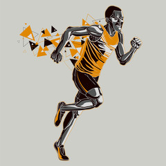 Running athlete with a graphic trail