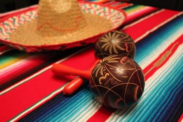 mexican poncho maracas cinco de mayo sombrero maracas background fiesta stock, photo, photograph, image, picture