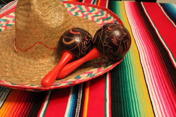 poncho sombrero maracas mexican background fiesta cinco de mayo blanket copy space pattern party stock, photo, photograph, picture, image,