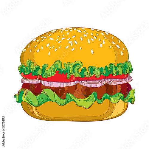 hamburger with grilled beef, tomatoes, lettuce, onion and sesame ...
