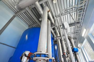 Large industrial water treatment and boiler room. Pressure vesse