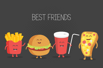 Cute fast food burger, soda, french fries and pizza