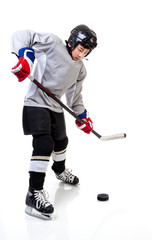 Junior Ice Hockey Player Isolated on White Background
