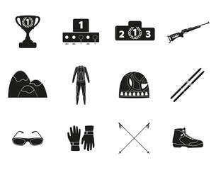 Biathlon. Silhouette icon set of equipment, wear and shoes. Vector illustration.