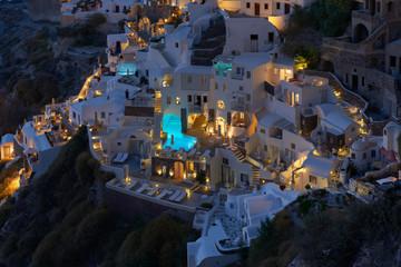Beautiful Oia village at Night , Santorini