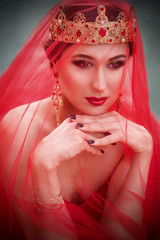 Beautiful girl in long red dress and in royal crown in veil