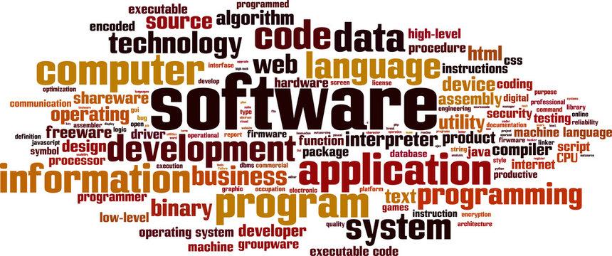 Software word cloud concept. Vector illustration
