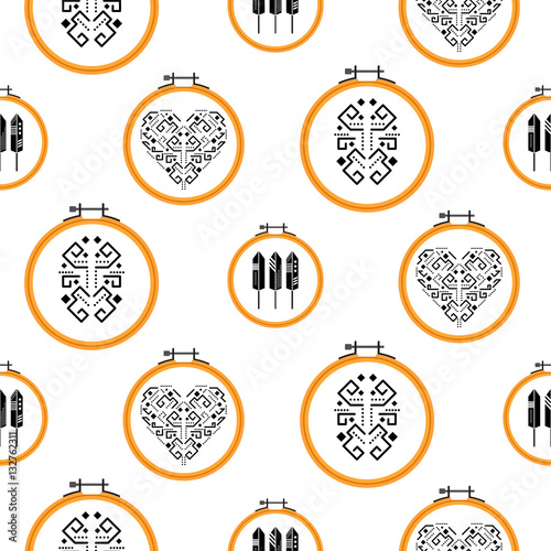 Quot needlework tribal design on embroidery hoops vector