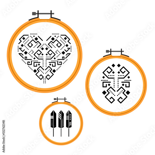 Quot needlework tribal design on embroidery hoops wooden