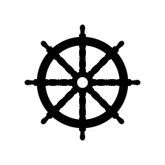 Boat steering wheel icon. Black icon isolated on white background. Ship helm simple silhouette. Web site page and mobile app design vector element.