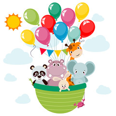Animals (panda, elephant, giraffe, rabbit, hippo, crab) cartoon style traveling by a hot air balloon. Vector childhood illustration for children postcards and posters.